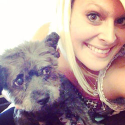 Chester with his foster mum, Nicole Elliot