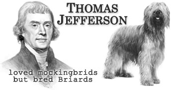Thomas Jefferson bred and improved the breed of Briards