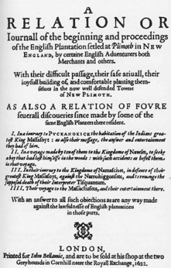 Mourt's Relation, published in London, 1622